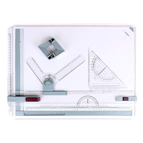 Kinbelle A3 Drawing Board Drafting Table Multifunctional Drawing Board Table with Clear Rule Parallel Motion and Angle Adjustable Measuring System