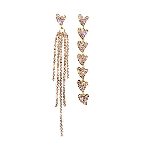 Women's long earrings Asymmetric heart-shaped diamond tassel super flash earrings 925 sterling silver earrings beautiful package Can be used as a gift