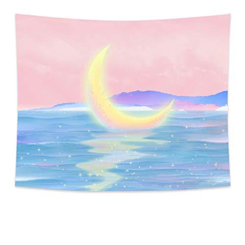 yqs Tapiz Dreamlike Niñas Luna Noche Colgante de Pared Rosa Luna Tapiz de Brujería Boho Decoración de Pared Alfombra