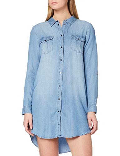 Vero Moda Vmsilla LS Short Dress Lt Bl Noos Ga Vestido, Azul (Light Blue Denim Light Blue Denim), 40 (Talla del Fabricante: Medium) para Mujer