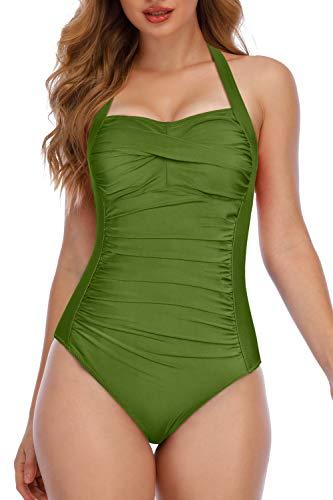 Phurro Women Halter Neck Swimwear Shirred One Piece Swimsuit, Olive Green, Medium