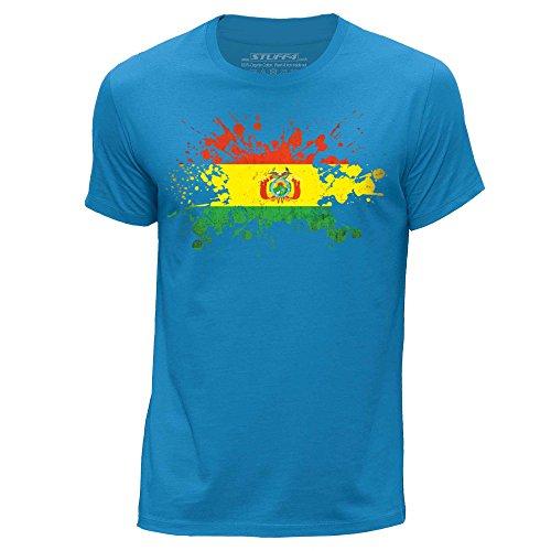 STUFF4 Uomo/Piccolo (S)/Blu/Girocollo T-Shirt/Bolivia Bandiera Splat