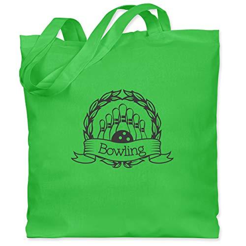 Shirtracer Bowling & Kegeln - Bowling Lorbeerkranz - Unisize - Hellgrün - Stil - WM101 - Stoffbeutel aus Baumwolle Jutebeutel lange Henkel