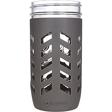 JarJackets Silicone Mason Jar Protector Sleeve - Fits Ball, Kerr 24oz (1.5 pint) Wide-Mouth Jars | Package of 4 (Charcoal)