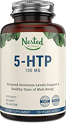 5-HTP 100 mg | 120 Vegan Capsules | Helps with Mood, Sleep, Relaxation, Calm and Appetite Control | Naturally Sourced Serotonin Booster | Anti Stress & Temporary Anxiety Relief Support Supplement