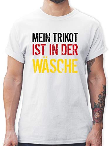 Fussball WM 2022 Fanartikel - Mein Trikot ist in der Wäsche EM Deutschland - L - Weiß - wm Trikot 2018 Herren Deutschland - L190 - Tshirt Herren und Männer T-Shirts
