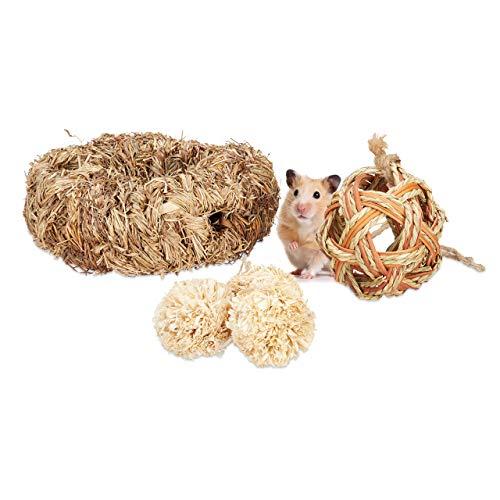 Relaxdays Hamster Zubehör Set 5 TLG, Grasröhre & 4 Bälle, Käfigzubehör Nager, Mäuse, Hamsterspielzeug Stroh/Gras, Natur