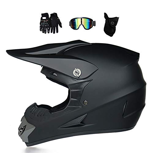 MRDEAR Casco Descenso Bicicleta Niño MR-125 Casco Motocross Hombre Negro Adulto Casco Moto Cross Enduro MTB MX Quad Off Road ATV Scooter con Gafas Máscara Guantes (L)