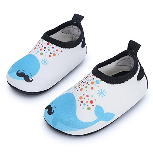 JIASUQI Barefoot Water Skin Shoes Beach Sandals for Baby Girls and Boys for Beach Pool Swimming,Beige Dophin 6-12 Months
