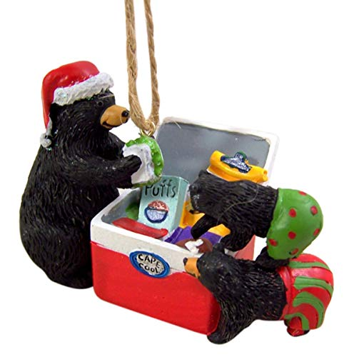 Cast Resin Mama and Baby Bears with Cooler Hanging Christmas Tree Ornament, 3 1/4 Inch