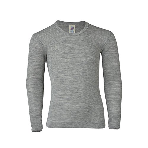 Engel Baby/Kinder Unterhemd/Shirt Langarm Reine Bio-Wolle/Seide, Hellgrau Melange, 116
