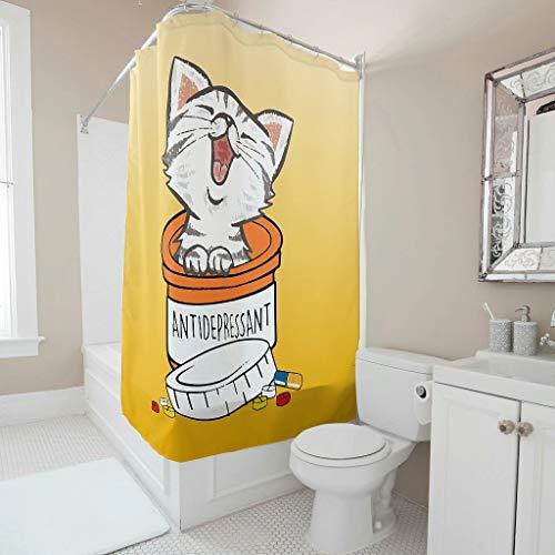 Dofeely Douchegordijn Cat Funny bedrukt modern schimmelbestendig gordijn badkuipgordijn in levendige kleuren