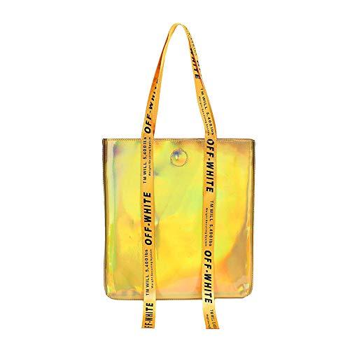 AiSi Holographic PU Shopper Bolso de hombro grande con láser para mujer, color, talla Talla única