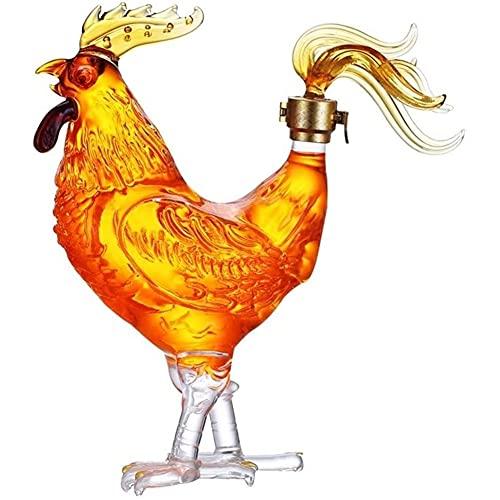 Decantadores de Vino Decantador de Whisky Diseño Creativo Tapón hermético Jarra con Forma de Pollo de Vidrio de borosilicato Alto para Licor, Whisky, Bourbon
