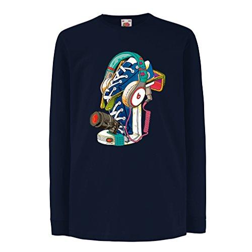 lepni.me Kids T-shirt Street Art Sneakers met Hoofdtelefoon - Muziek, Feest, Hiphop. Hipster, alternatieve mode