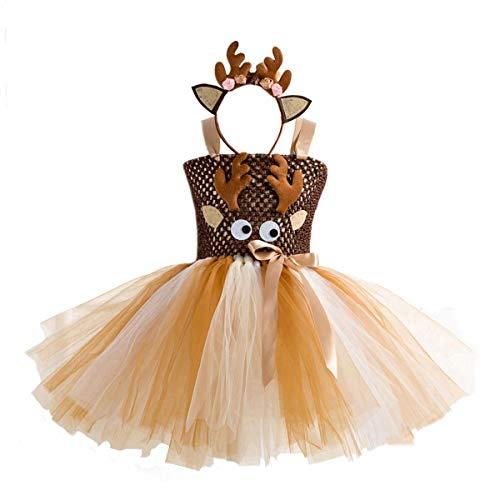 Vestidos de fiesta de Navidad para niñas pequeñas, disfraz de reno de Papá Noel, vestido de malla tutú con diadema