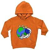 Sudadera con capucha para bebé de Hariz, astronauta y estrellas, incluye tarjeta de regalo Coche de juguete naranja. 12-24 meses