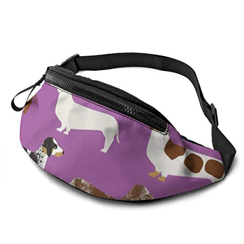 Harla Unisex Casual Waist Bag Doxie Dachshunds Purple Dogs Pet Dog Dog Cute Wiener Dog Sausage Dog Fabrics Fanny Pack Money Bum Bag with Adjustable Belt for Running Sports Climbing Travel