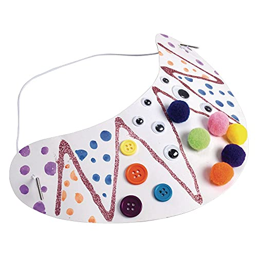 Colorations DIY Decorate Your Own Cardstock Visor with Elastic, Set of 24, for Kids, Customize, Personalize, Party Hat, Arts & Crafts, DIY Craft Activity