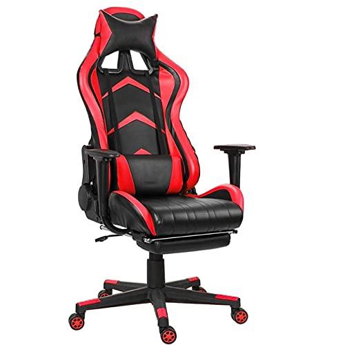 SuRose Sillón reclinable de oficina ajustable con elevación giratoria de piel sintética para oficina, computadora, juegos, con reposapiés para muebles para el hogar (color 0864)