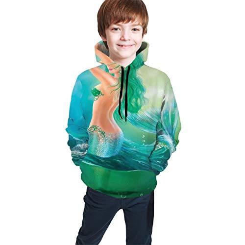 Teen Hooded Sweatshirts,Mermaid in Ocean On Waves Tail Sea Creatures Dramatic Sky Dark Clouds L
