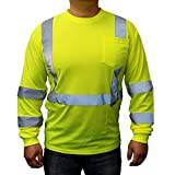 3C Products ST3000, ANSI/ISEA Class 3, Men's High Vis Long Sleeve Safety T-Shirt, UV Protection, Reflective, Neon Green,5XL