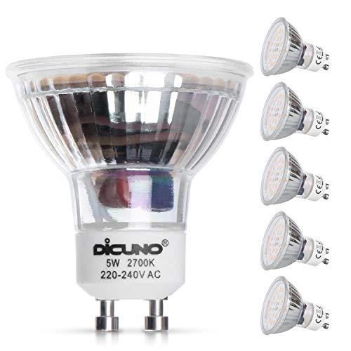 DiCUNO Lampadina LED GU10, 5W, 600LM, Bianco caldo 2700K, Equivalente alogeno 50W, Lampadina LED per faretti GU10, Non dimmerabile, 220-240V, Fasci larghi 120 °, 6 Pezzi