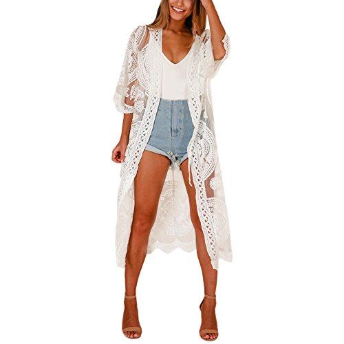 Beautynie Damen Mode Strandkleider Solide Cardigan Aushöhlen Spitze Halbe Sonnencreme Langer Mantel Strandponcho Cardigan Kaftan Badeanzug Bikini Spitze Cover Up (Weiß)