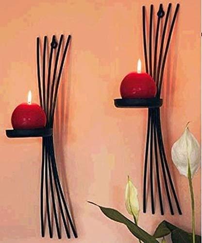 Portavelas decoracion 2pcs / pack titulares de estilo europeo metal vela de la pared soporte de la vela moldeada titulares de hierro decoración del hogar decoración del arte del acento de velas