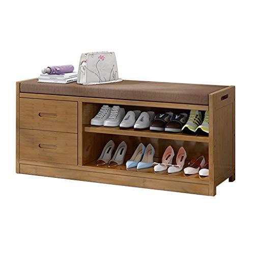 JPL Taburete para el hogar, banco de zapatos de bambú con cajones, zapatero de 2 niveles, zapatero con cojín de asiento, color # 2