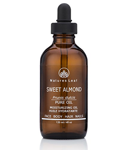 Natures Leaf Organic Sweet Almond Oil 100% Pure / Cold Pressed / Dry, Itchy Skin, Fine Lines & Wrinkles, Crows Feet, Split Ends, Frizzy