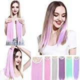 SARLA Green Colored Clip in Hair Extensions Short 2Pcs Straight Highlights Synthetic Hair Piece 2 Clips 14 Inches for Women Girls H13-14&Mint Green