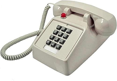 Teléfono Retro Teléfono Vintage Retro Botón Vintage Antiguo Teléfono Teléfono Fijo con Tono de Llamada mecánico-Beige Excellent