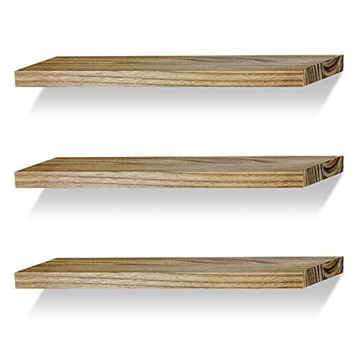 Floating Shelves Wall Mounted Shelf Solid Wood for Bathroom Kitchen Bedroom Rustic Decor Set of 3, Carbonized Black Wall Shelves