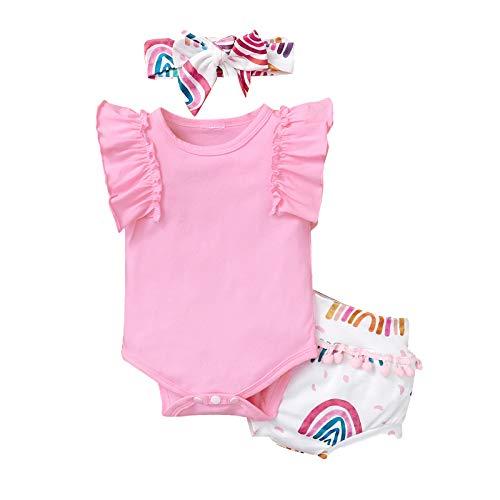 Mono de verano para recién nacido, sin mangas, con estampado de arco iris, con flecos y traje de bandana
