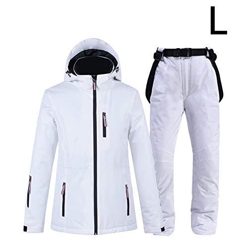 ZQYX Completo da Sci Bianco, Completo Invernale da Uomo/Donna, Completo di Giacca E Pantaloni da Sci Antivento Impermeabile, Ottimo per Lo Sci Invernale E L'escursionismo