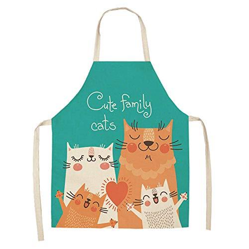 LIUKLAI Delantal de cocina de gato de dibujos animados lindo para mujer, babero de lino y algodón, delantal de limpieza para el hogar, delantal de cocina para el hogar, 68x55cm-2WQ-WQ0057-3_68x55cm