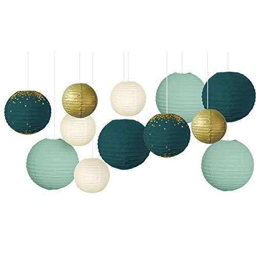 NICROLANDEE Hochzeitsfeierdekorationen - 12 Stück grünes Gold hängende Papierlaternen für rustikalen Stil Frühlingsdekor Brautdusche Babyparty Geburtstag Eukalyptus Neutrales Partydekor