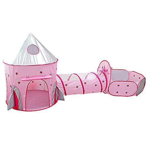 LIANJIE 3-In-One Play Tent And Children's Tunnel, Pop-Up Play Tent Tunnel, Foldable Playground, with A Basketball Stand, Suitable for Indoor And Outdoor Use Princess Castle (Excluding Balls)