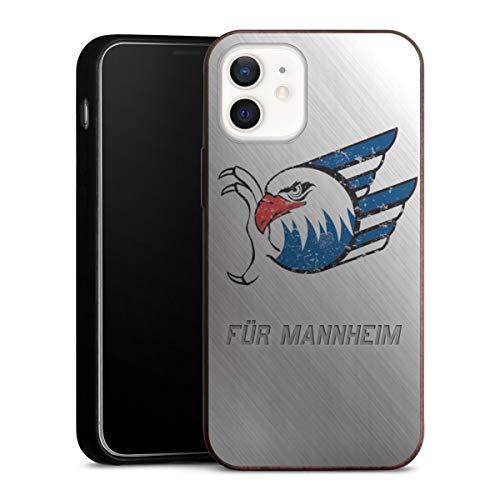 DeinDesign Holz Case kompatibel mit Apple iPhone 12 Mini Walnuss Handyhülle Echtholz Hülle Adler Mannheim Logo Eishockey