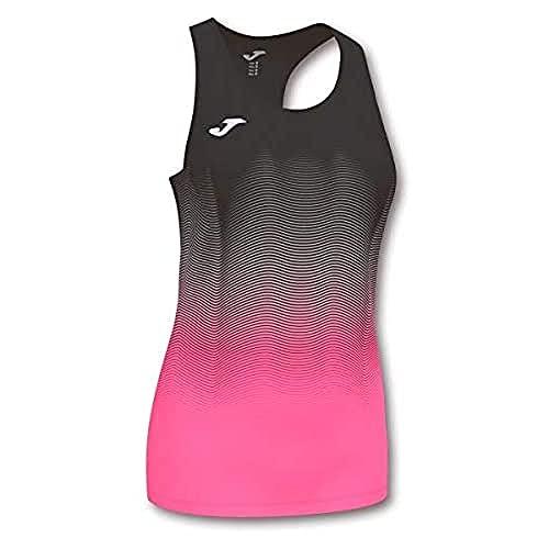 Joma Elite Camiseta Tirantes Running, Mujer, Negro-Rosa, M