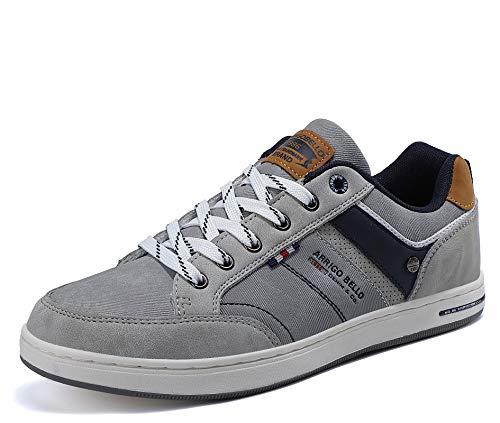 AX BOXING Sneakers Hombre Zapatos Casual Zapatillas Moda Ligero Deporte Gimnasio Running Tamaño 41-46 (Gris, Numeric_43)