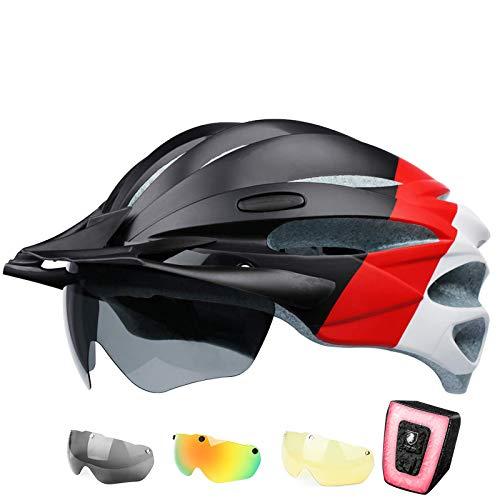 SUNRIMOON Adult Bike Helmet Men Women - Adjustable Size Bicycle Helmet with Adjustable Visor, 3 Colors Magnetic Goggles, USB Rechargeable LED Tail Light Adult Cycling Helmet