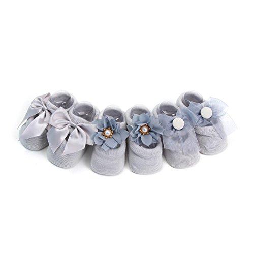 LUOEM 3 paires/Set coton chaussettes bébé pour fille Bebe enfant en bas âge nouveau-né anti-dérapant dentelle fleur Bow Tie chaussettes étage chaussette d'anniversaire (gris) - taille M