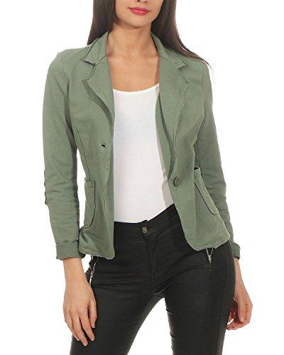 ZARMEXX Damen Blazer Kurzjacke mit Knöpfen Jacket Sakko Basic Coat Vintage Sweatjacke (Armee, XL)