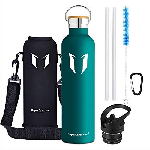 Super Sparrow Trinkflasche - 620ml / 1000ml - Wasserflasche Doppelwandig Vakuum Isoliert Edelstahl - Auslaufsicher Sport Trinkflaschen | Ideale Flasche - BPA-freie - 2 Deckel + Tragetasche