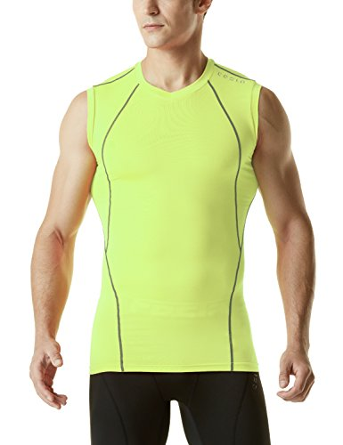 TSLA Men's V Neck Sleeveless Workout Shirts, Dry Fit Running Compression Cutoff Shirts, Athletic Training Tank Top, Neon Yellow, Small