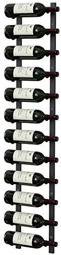 Y-Furniture Wall Series - Wall Mounted Wine Rack, Wine Storage (Satin Black Finish) (Steel, 12 Bottles)