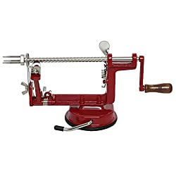 a red apple peeler with a handle.