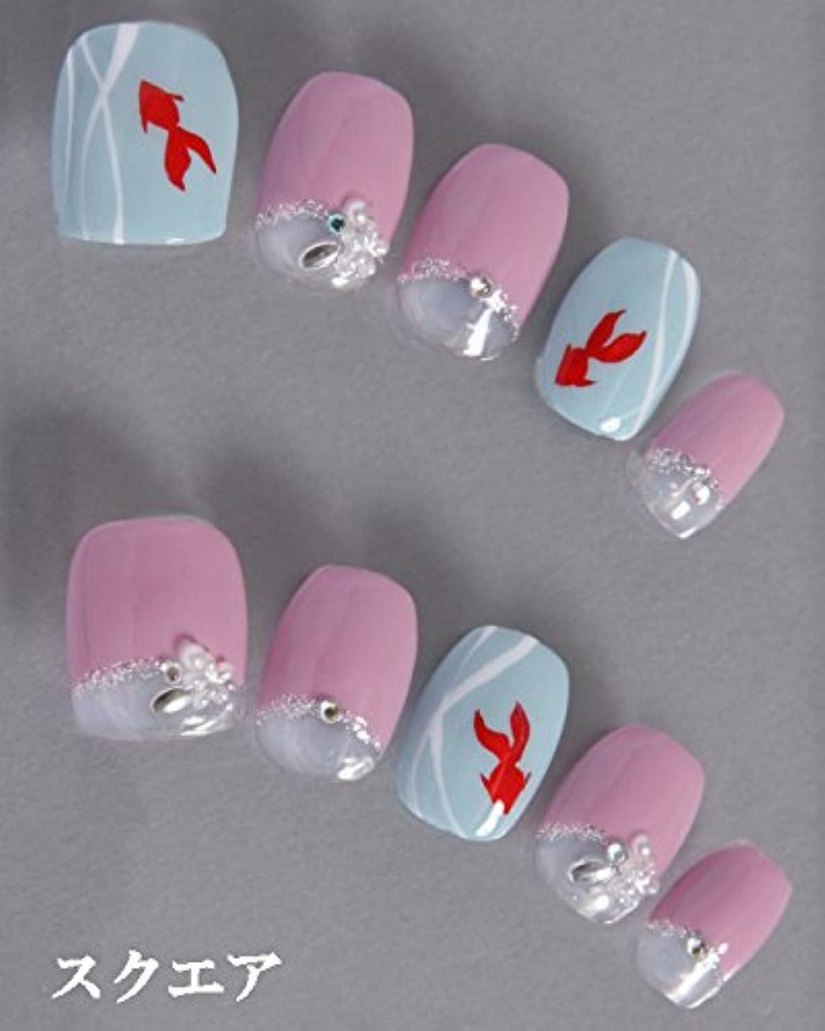 ダイヤモンド些細な気楽なゆずネイル ネイルチップ 濃ピンク 薄ブルー フレンチ 動物 花 夏 浴衣(B01023-Q-C)